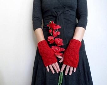 Fingerless Gloves, Red Fingerless Gloves, Knit Arm Warmers, Wrist Warmers, Red Gloves, Wool Gloves, Valentines Gift