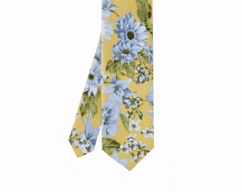 Piper 03  - Yellow/Blue Floral Men's Tie