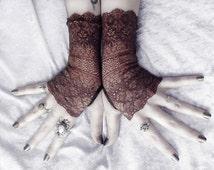 Lace Gloves Fingerless | Dark Earth Brown Ornate Embroidered | Mehndi Damask Wedding Tribal Boho Mori Gothic Belly Dance Goth Long | Thane