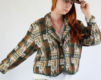 SALE - Vintage 80s Brown Tribal Southwestern Tapestry Jacket