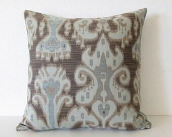Kravet ikat - dark gray-brown light blue pillow cover