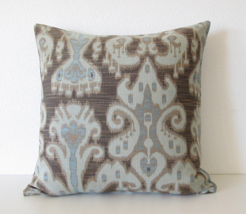 kravet ikat dark gray brown light blue pillow cover. Black Bedroom Furniture Sets. Home Design Ideas