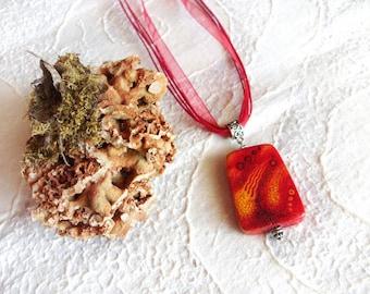 Orange Necklace - Wooden Pendant -  Boho - Handpainted - Summer
