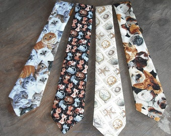 Novelty Neck Tie Necktie Cats Dogs Seashells Animals Cotton Blend Mens Dressy Casual Sporty Fashion Apparel Wedding Father Gift