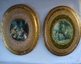 2 VINTAGE VICTORIAN Boudoir Pictures Plaques Pastoral Scene Wall Hanging Art Pair Shabby Chic Gold Pink  Green Small Wall Pictures Wall Art