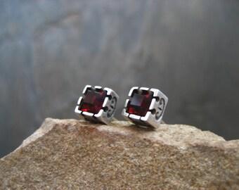 Garnet cube  stud earrings - solid sterling silver and vintage garnet swarovski crystal