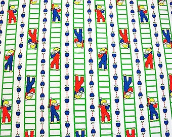 1960s Vintage Fabric Childrens Juvenile Novelty Print Kids Fabric Girls Boys climbing ladder Fabric by the yard