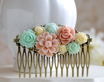 Mint Green Pink Ivory Flower Hair Comb, Mint and Pink Wedding Bridal Hair Comb, Large Antiqued Brass Filigree Collage Hair Comb