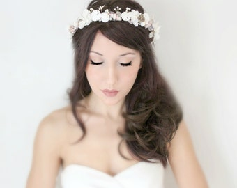 Beach Wedding Crown, Sand dollar, Starfish, Seashells Peals Crystals & Flowers Tiara, 'Ania' by the sea