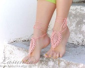 Coral  barefoot sandals, Barefoot sandles, peach crochet nude shoes, foot jewelry, wedding, victorian lace, sexy, yoga, bellydance