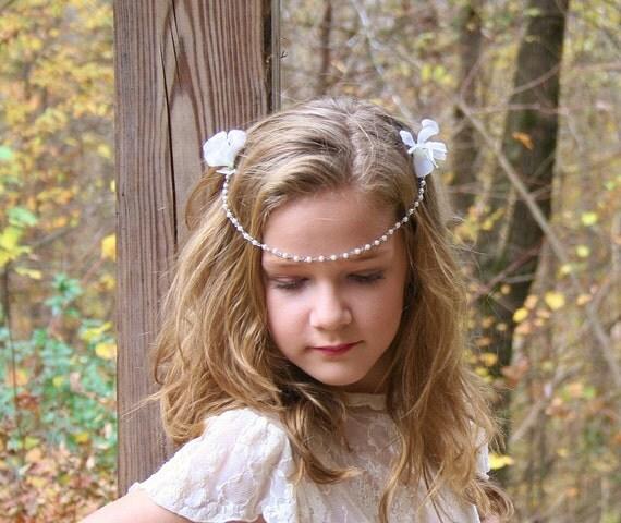 Pearl Bridal Headband, Bridal Hair Flowers, Flower Crown, Wedding Head Piece, Wedding Hair Accessory, Pearl Forehead Band, FancieStrands