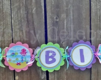 Personalized Happy Birthday Banner -Ocean Friends for Girl -Birthday Banner -Photo Prop -Under the Sea -Sea Horse -Octopus -Dolphin