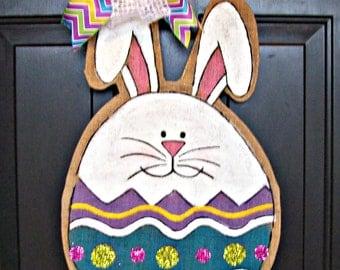 Burlap Easter Bunny Egg Door Hanging