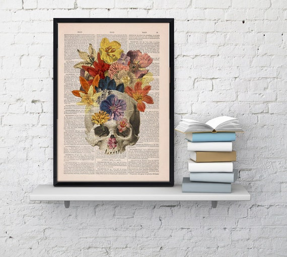 Dictionary Book Print  Flowers and  Skull collage Printed on Vintage Dictionary Book page- Wall decor art SKA016