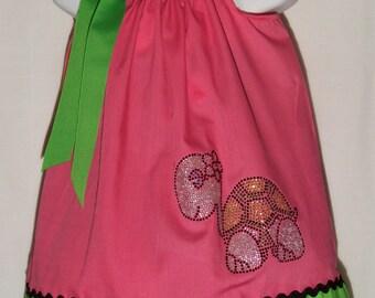 Turtle Pillowcase Dress / Bling / Rhinestones / Pink / Green / Baby / Girl / Newborn / Infant / Toddler / Custom Boutique Clothing