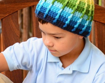 CROCHET PATTERN - Color Dip Beanie - crochet hat pattern for boys, crochet beanie pattern (Infant - Adult sizes) - Instant PDF Download