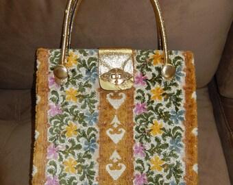 Velvet Purse Bag-Vintage floral pink green gold yellow textured fabric bag-Mahler of California 1960s shiny gold lame' bag vintage handbag