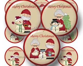 Santa and Mrs. Claus, Christmas Bottle Cap Images, Christmas, 1 Inch Circles, Digital Collage Sheet (Kringles Merry Christmas No.1)