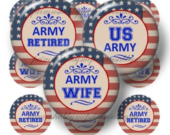 US ARMY, 1 Inch Circles, Bottle Cap Images, Digital Collage Sheet, Vintage American Flag, Military, Jewelry, Printable Crafts, Magnets
