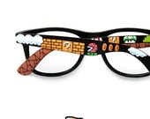 Super Mario glasses unique painted men retro geek gift for gamer Prescription Piranha Plant 1UP 8bit arcade video game painted handmade