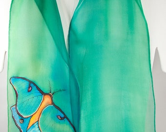 "Hand painted silk scarf. Luna Moth Silk Scarf.  Luna moth scarf. Green silk scarf. 8""x52"" Handpainted silk scarves. hand-painted silk scarf."