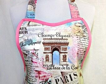 Apron April in PARIS, Pretty PASTELS in PINK & Blue, Eiffel Tower, Paris Collage, Designer Hostess Party Kitchen Gift