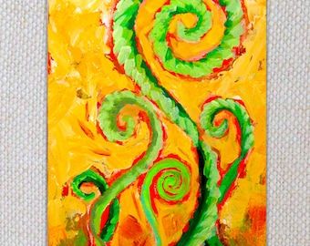 Original Expressionist Painting, 5x7, Celebrating FiddleHeads, home decor, affordable art