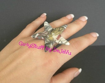 Large Star Ring, white/silver/gold/pink, silver plated adjustable ring base, metallic colors, thermoplastic, handmade, made in Greece