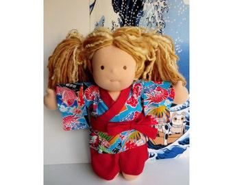 "15"" Doll kimono jimbei for a Waldorf inspired dolls, doll dress,  Japanese fabric kimono cotton yukata kimono doll,  japanese doll yukata"