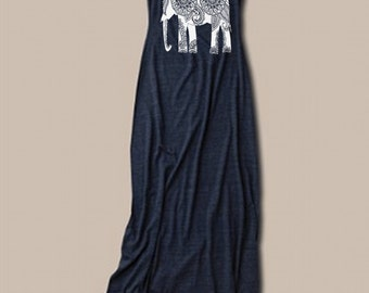 SALE Womens ELEPHANT Top Shirt Dress Boho Print Graphic Bohemian Tank Top Maxi Long Dress screenprint Fashion S M L XL More colors