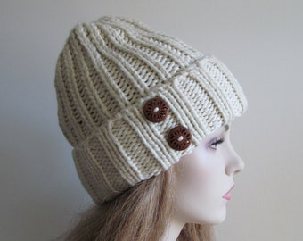 Knitted Beanie Hat Ivory White Two Wooden Buttons Womens Teens Girls Fall Winter accessory Hand Made Knit