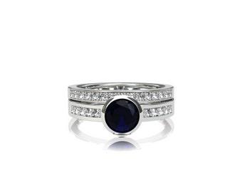 Blue sapphire engagement ring set, blue sapphire ring, blue sapphire engagement ring, diamond ring, bezel, white gold, solitaire, eternity