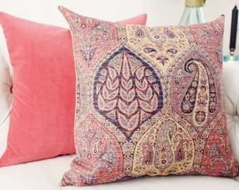 Turkish Paisley Pillow -  Pink Mulberry Gold Navy Blue Geometric Pillow Cover - Lilac Designer Pillow - Throw Pillow - Purple Pink Pillow