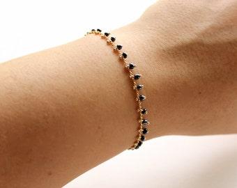 Gold Chain Beaded Bracelet - Delicate Bracelet - Charcoal / Dark Grey Beaded Gold Chain Bracelet