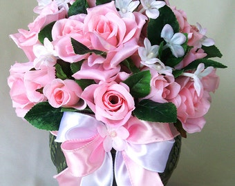 Pink artificial flowers, Pink flower arrangements, Pink silk flowers, Pink fake flowers, Flower arrangement, Floral centerpieces, Pink roses