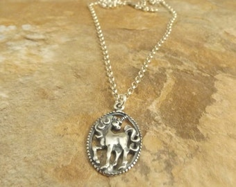 Sterling Silver Unicorn in Circle Charm on a Sterling Silver Rolo Chain Necklace-1113