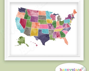Bright Rainbow Color United States Map US Map Canvas Family - 3 color us map