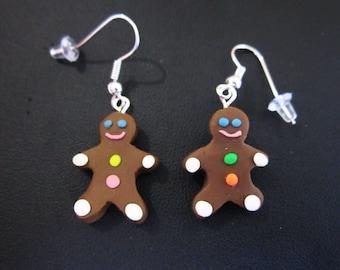 Christmas earrings, Gingerbread men, food jewelry, miniature, polymer clay