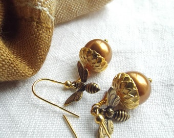 GOLD ACORN Woodland Fall/Autumn earrings 18K Gold Vermeil wires, , Honey  Bee jewelry, Copper Browm SWAROVSKI pearls, byLaurieB