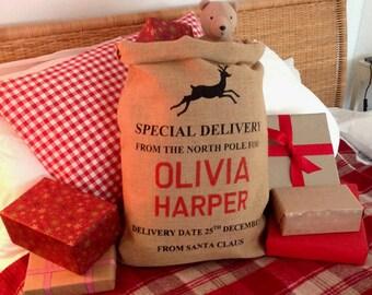 Personalised Christmas Sack - Reindeer Design - Christmas Stocking - Christmas Bag