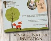 Vintage Woodlands Custom Invitation - Birthday - Nature - Boy Party - Celebration - Party Invite - Nature Birthday - Party Favors - Theme