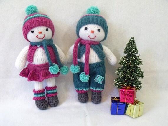 Mod le de tricot de poup e jouet cuties poup es de lhiver - Bonhomme de neige en laine ...
