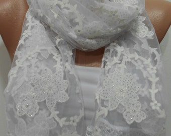 Floral White Scarf Shawl Laced Cowl Scarf White Weddings Scarf Shimmer Sparkle Scarf Fashion Accessories Trending items Gift ideas For Her