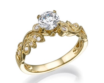 Antique Engagement Ring, Yellow Gold Ring, Leaves Ring, Art Deco Ring, Promise Ring, Unique Engagement Ring, Wedding Ring, Leaf Ring