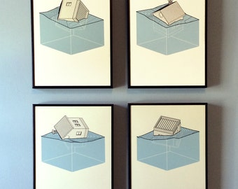 Screenprint art - set of 4 prints - series of houses tumbling in a landscape, 11x14 inches, hand pulled, blue, off white, gray