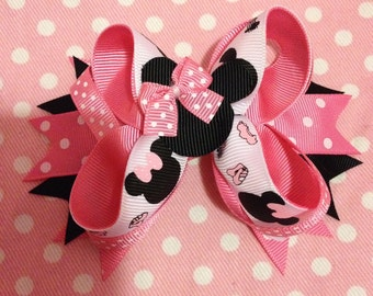 MINNIE MOUSE Boutique Stacked Hair Bow.pink, Black, pink White polka dots