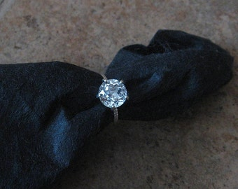 White Topaz Solitaire, Sterling Silver, Non Traditional, Cocktail, Prong, Rope Band, Size 6