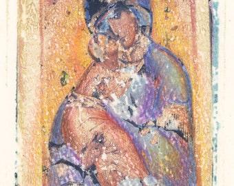 Vladimir Virgin, Polaroid Photo Art, Russian Icon Photo, Polaroid Scans, Theotokos of Vladimir, Medieval Byzantine, Icon Mary photo art