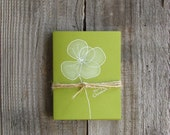 Set of 4 Handmade Green Flower Christmas Card: Elegant and Simple Design, Holiday gifts