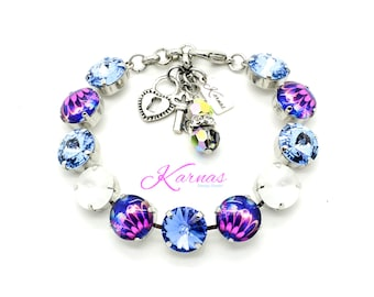 PINK PETAL PARADISE 12mm Crystal Rivoli Bracelet Made With Swarovski Elements *Pick Your Finish *Karnas Design Studio *Free Shipping*